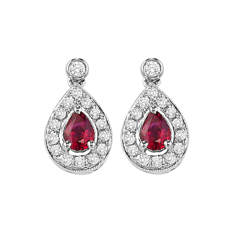 Gems One 14K White Gold Color Ensembles Halo Prong Ruby Earrings 1/6CT