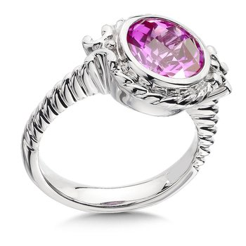 Sterling Silver and Created Pink Sapphire Ring