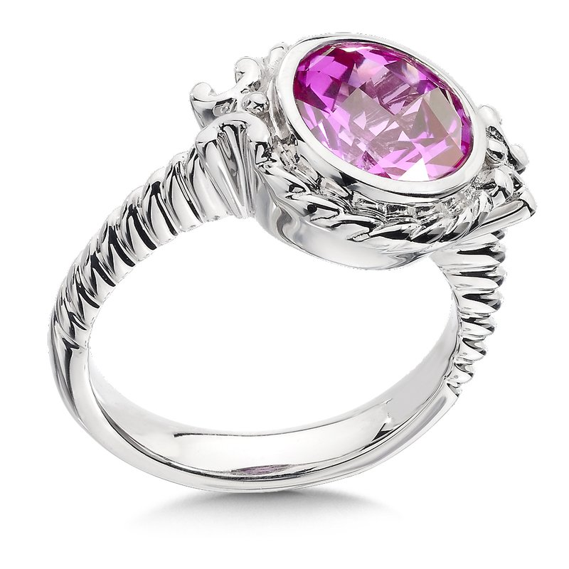 Colore Sg Sterling Silver and Created Pink Sapphire Ring