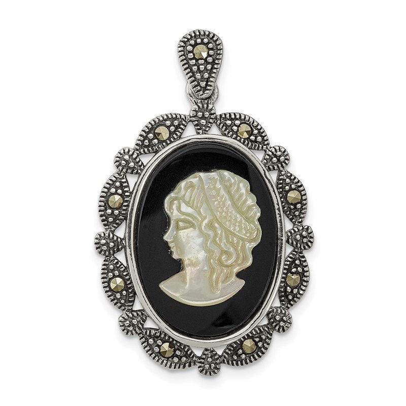 Arizona Diamond Center Collection Sterling Silver Antiqued Marcasite Black Agate & MOP White Cameo Pendant
