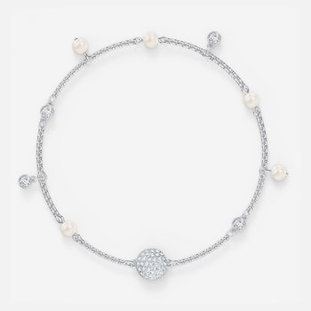 Swarovski Remix Collection Delicate Pearl Strand, White, Rhodium plated