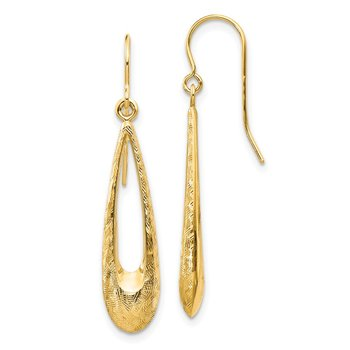 14k Gold Polished and Textured Teardrop Dangle Earrings