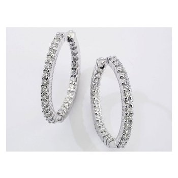 #24993 Of 18Kt White Gold Medium Perfect Diamond Hoop Earring