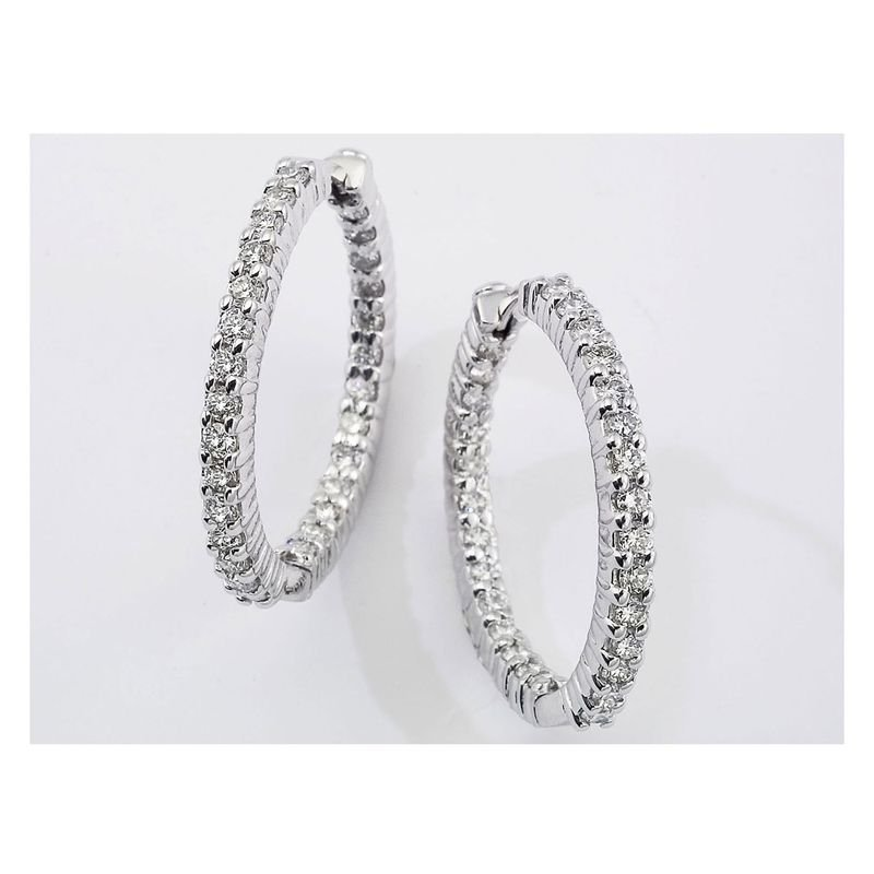 Roberto Coin  #24993 Of 18Kt White Gold Medium Perfect Diamond Hoop Earring
