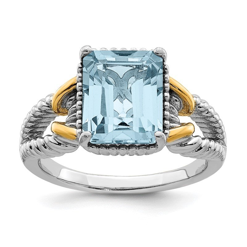 Quality Gold Sterling Silver Rhodium w/ Flash Gold-plate Sky Blue Topaz Ring