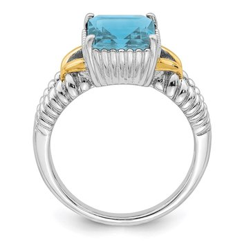Sterling Silver Rhodium w/ Flash Gold-plate Sky Blue Topaz Ring