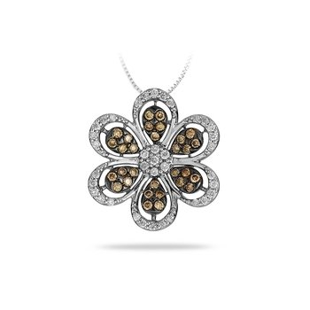 14K WG Diamond Flower Pendant