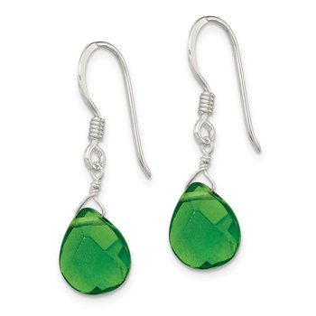 Sterling Silver Dark Green Crystal Dangle Earrings