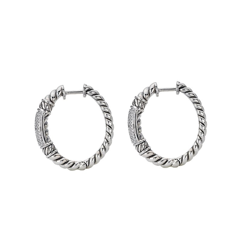 Ladies Fashion Diamond Hoops