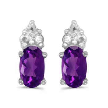 10k White Gold Oval Amethyst Earrings