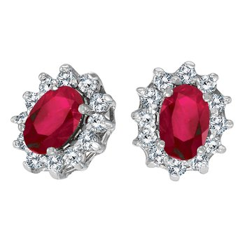 14k White Gold Oval Ruby and .25 total ct Diamond Earrings