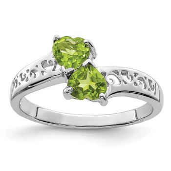 Sterling Silver Rhodium Peridot Heart Ring