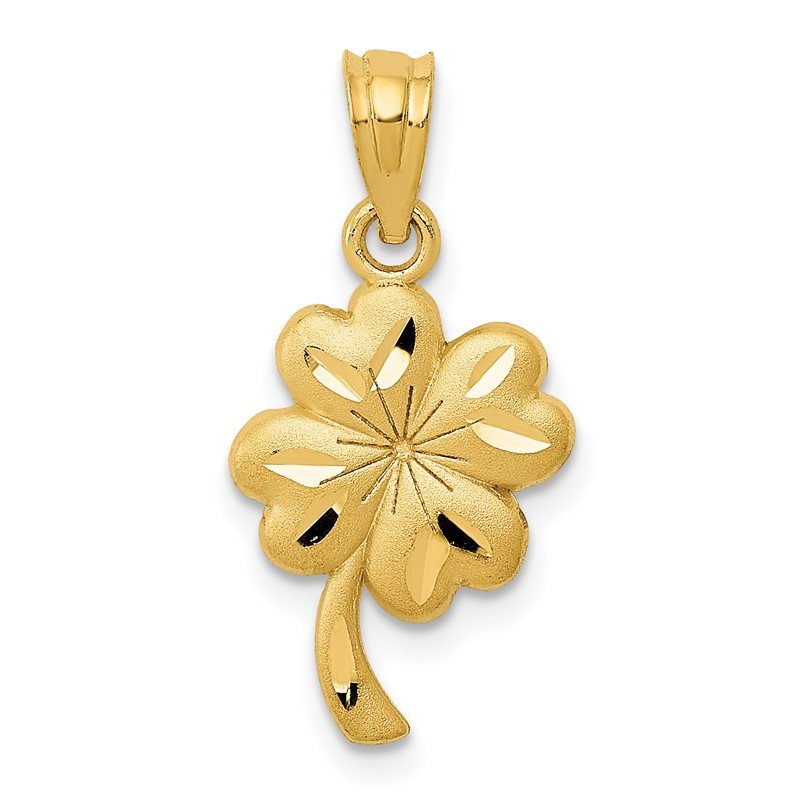 Quality Gold 14k Brushed Satin Diamond-cut Four Leaf Clover Charm