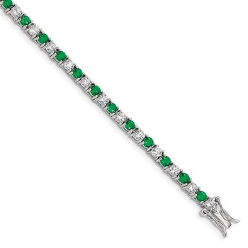 Sterling Silver 7 inch Rhodium-plated Green Glass and CZ Bracelet