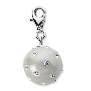 Sterling Silver RH Click-on White Ferido & Stellux Crystal Ball Charm