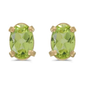 14k Yellow Gold Oval Peridot Earrings