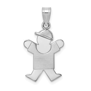 14k White Gold Small Boy w/Hat on Right Engravable Charm