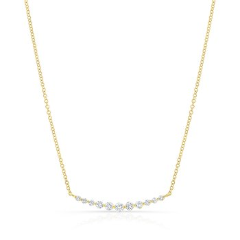 Yellow Gold Graduating Shared Prong Necklace