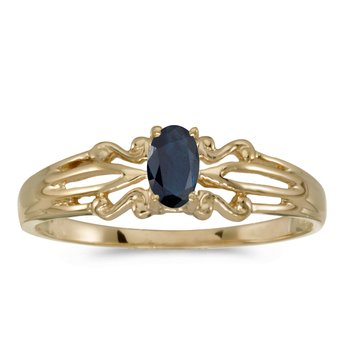10k Yellow Gold Oval Sapphire Ring