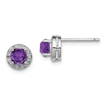 Sterling Silver Rhodium-plated Diamond & Amethyst Earring