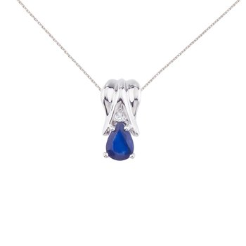 14k White Gold Sapphire Pear Pendant with Diamonds