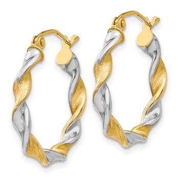 14K White Gold & Rhodium 2.0mm Twisted Hoop Earrings