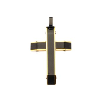 Gold Plated And Black Plated Cross Pendant With Matte Black Round Wheat Chain