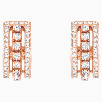 Further Pierced Earrings, White, Rose-gold tone plated