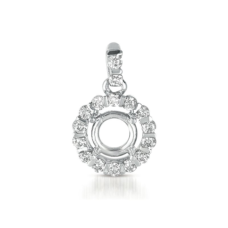 S. Kashi  & Sons Diamond Pendant For 1/2ct Round Stone