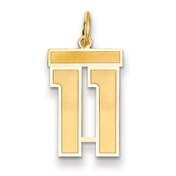 14k Medium Satin Number 11 Charm