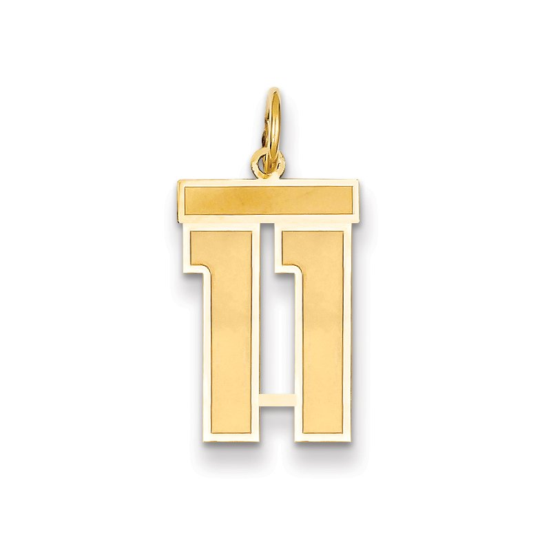 Quality Gold 14k Medium Satin Number 11 Charm