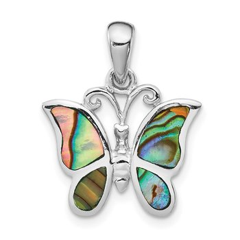 Sterling Silver Rhodium-plated Abalone Butterfly Pendant