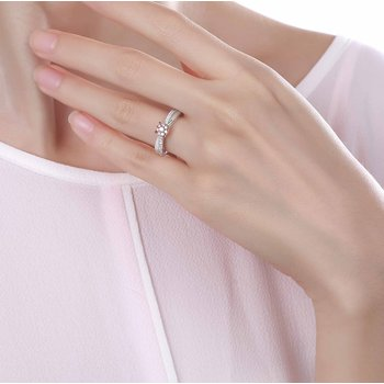 Smiling Rocks 0.27Ct Lab Grown Pink Color Diamond with G-H/VS1 Diamond Engagement Ring