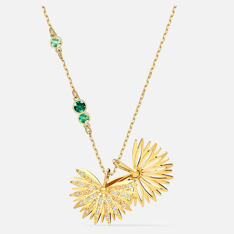 Swarovski Swarovski Symbolic Palm Necklace, Green, Gold-tone plated