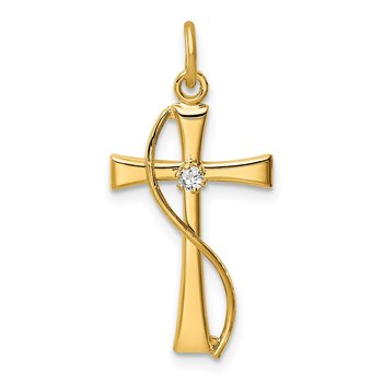 Sterling Silver Gold Tone & CZ Cross Pendant