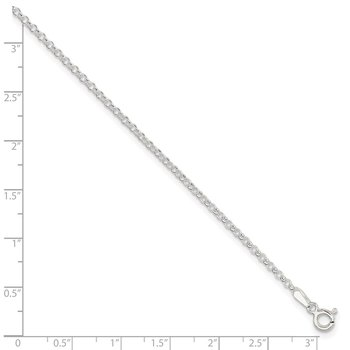 Sterling Silver 2mm Rolo 9in Plus 1in ext. Chain Anklet