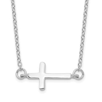 Sterling Silver Rhodium-plated w/ 2in ext. Sideways Cross Necklace