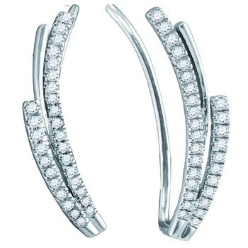 10kt White Gold Womens Round Diamond Double Row Climber Earrings 1/3 Cttw