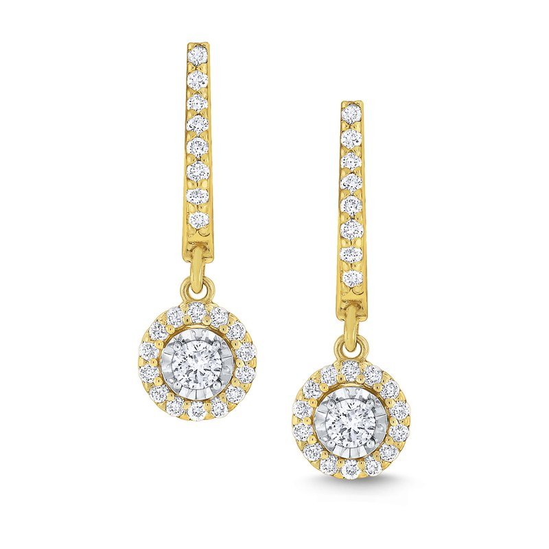 KC Designs Round Halo Diamond Drop Earrings Set in 14 Kt. Gold