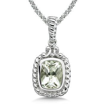 Sterling Silver and Green Amethyst Pendant