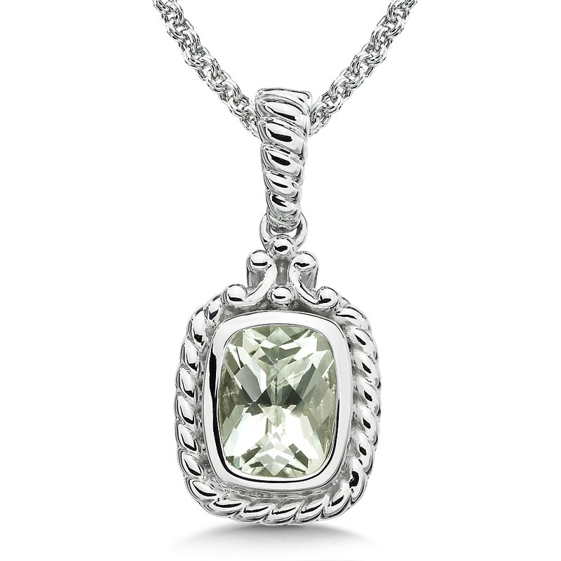 Colore Sg Sterling Silver and Green Amethyst Pendant