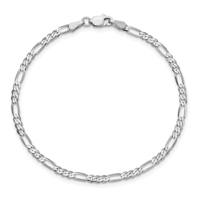 Quality Gold 14k WG 2.75mm Flat Figaro Chain Anklet