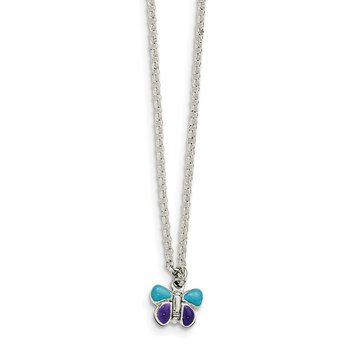 Sterling Silver Enamel Butterfly 15in w/1.5in ext Necklace