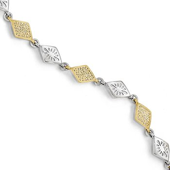 Leslie's Sterling Silver Gold-tone Flash 24k Plated Bracelet