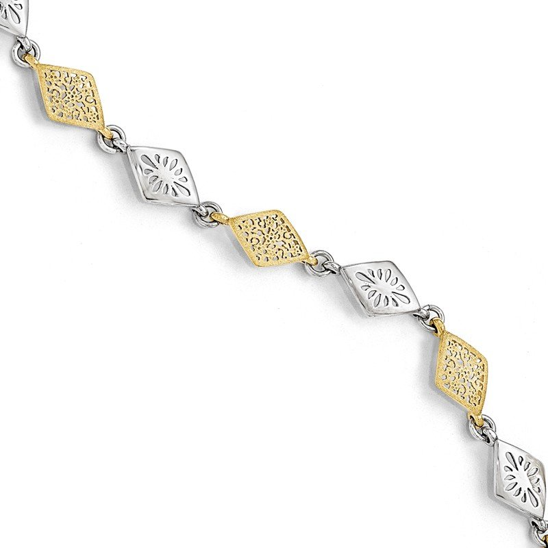 Leslie's Leslie's Sterling Silver Gold-tone Flash 24k Plated Bracelet