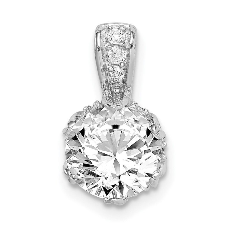 Quality Gold Sterling Silver Rhodium-plated CZ Pendant