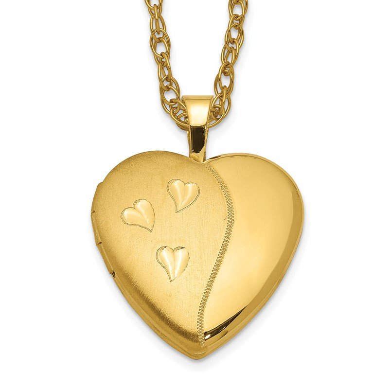 Quality Gold 1/20 Gold Filled 16mm Satin and Polished Heart Locket Necklace