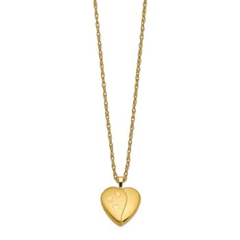 1/20 Gold Filled 16mm Satin and Polished Heart Locket Necklace
