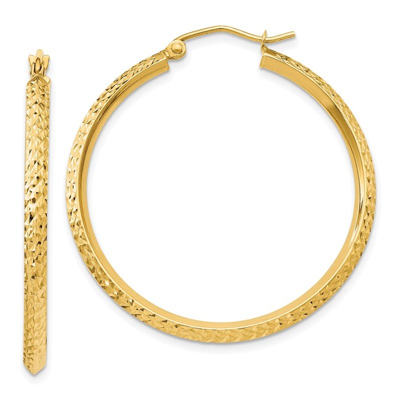 Quality Gold 14K Knife Edge Diamond-cut Hollow Hoop Earrings