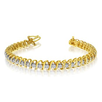 "14k Yellow Gold 2 Ct. ""S"" Illusion Bracelet"